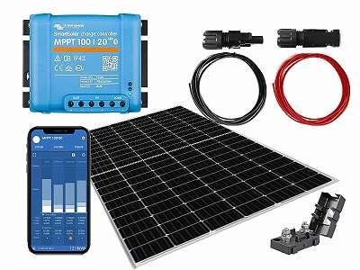 340wp + Victron 100/20 MPPT inkl Bluetooth - Photovoltaik Solarmodul zur Versorgung einer 12V Batterie im Garten, Gartenhaus oder Wohnmobil Camping Boot