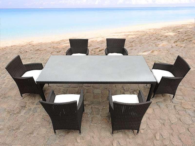 Gartenmöbel Set Rattan dunkelbraun Tisch 160 x 90 cm 6-Sitzer Kissen ...