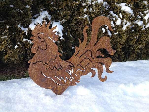 Tiere aus metall deko f r den garten hahn rostig 40cm for Metall deko tiere