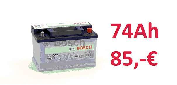 BOSCH Autobatterie 40Ah, 45Ah, 60Ah,72Ah, 74Ah, 75Ah, 80Ah, 85Ah, 90Ah,95Ah,100Ah, 110Ah, 120Ah, 125Ah, 135Ah, 140Ah