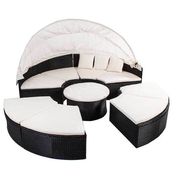 xxl sonneninsel rattan sitzgruppe polyrattan sitzgarnitur sonnenliege farbe schwarz 499. Black Bedroom Furniture Sets. Home Design Ideas