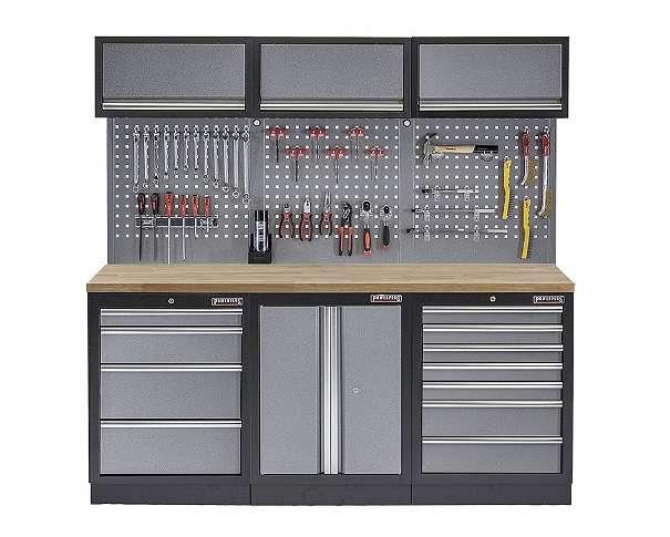 werkstatt set mit hartholzplatte werkstatteinrichtung werkzeugschrank lochwand 3 x. Black Bedroom Furniture Sets. Home Design Ideas