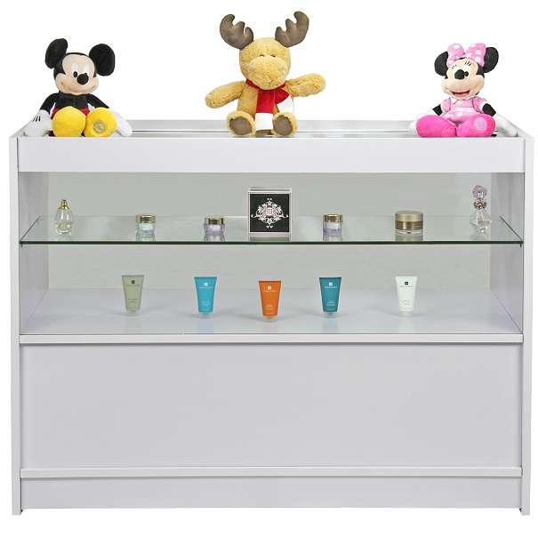 Monster C1200 Verkaufstisch Verkaufstheke Verkaufstresen Vitrine Austellungsvitrine Ladentheke Ladentresen Ladentheke mit Glas weiß -flieder