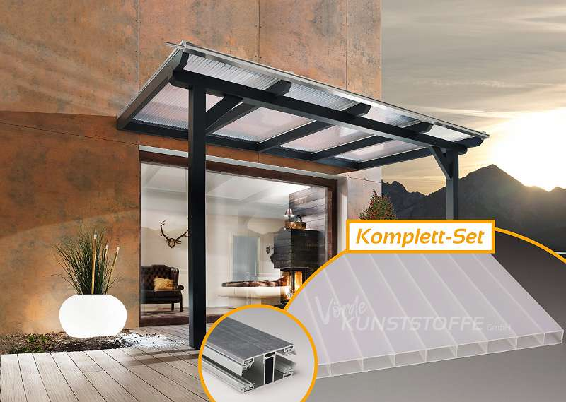Terrassendach Komplettset Hohlkammerplatten Acrylglas opal