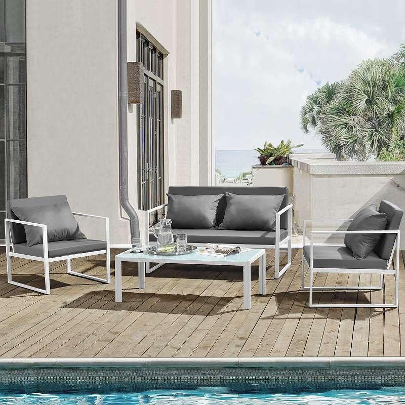 casa . pro]® Sitzgruppe Weiß/ Grau Gartenmöbel Set Gartenstühle ...