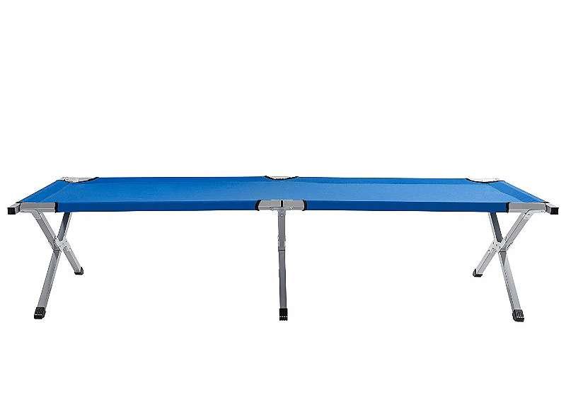 Feldbett inkl. Tragetasche Intertek getestet. bis 120kg. Rahmen aus Aluminium Maß: 190x62x42cm Farbe: dunkelblau oder dunkelgrün Campingbett