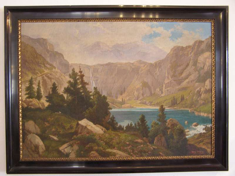 Grosses Landschaftgemälde Berge Gebirgssee Sig. Adolf Wutschl
