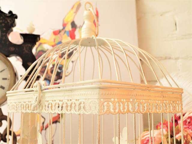 4-Eckig! Romantischer Vogelkäfig im tollen Design! Antikstil weiß Schmetterling Ampel Blumen Pflanzen Lamenschirm Leuchte Schale Korb Aufbewahrung Deko weiß