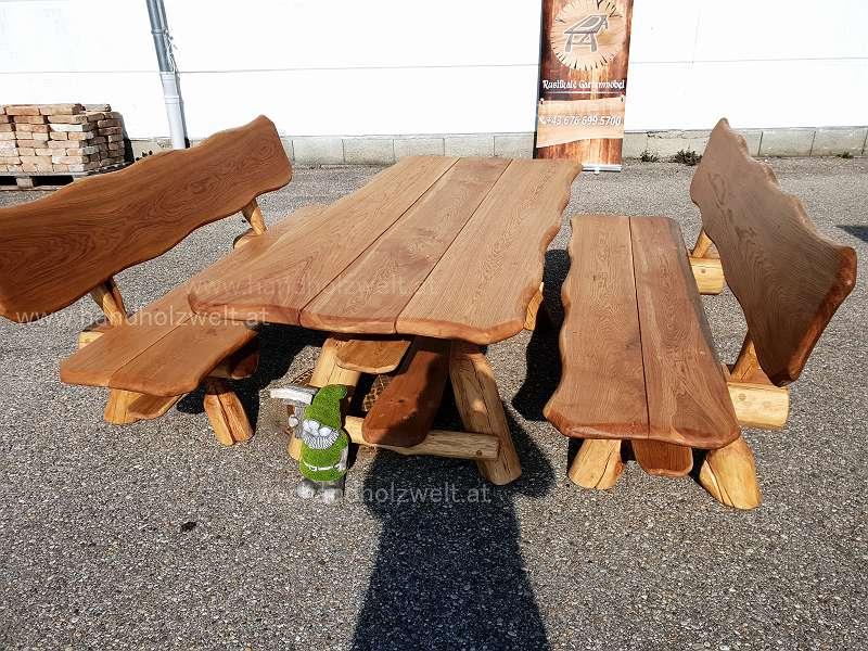 , rustikale, urige, massive, Gartengarnitur, Sitzgruppe, Eiche, Holz,