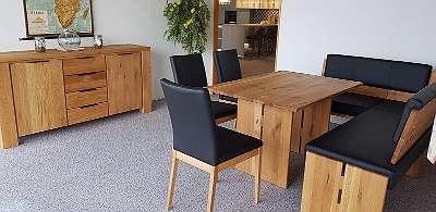 Fabriksneue Eckbankgarnitur mit Sideboard, Wildeiche massiv, Abverkaufspreis ? 1990 + ? 980
