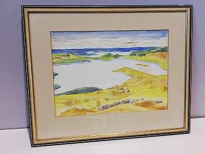 See bei Kornjewo mit Dörfern, Aquarell