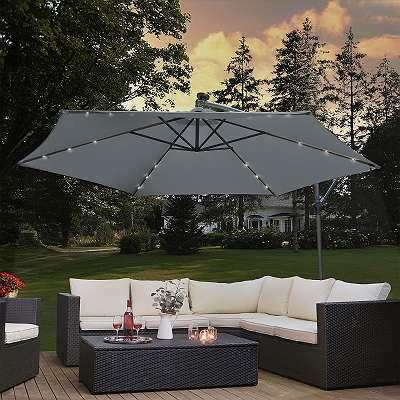 Ampelschirm mit LED Sonnenschirm Gartenschirm Terassenschirm Ø350 cm mit Kurbel und Standfuß dunkelgrau JU25466