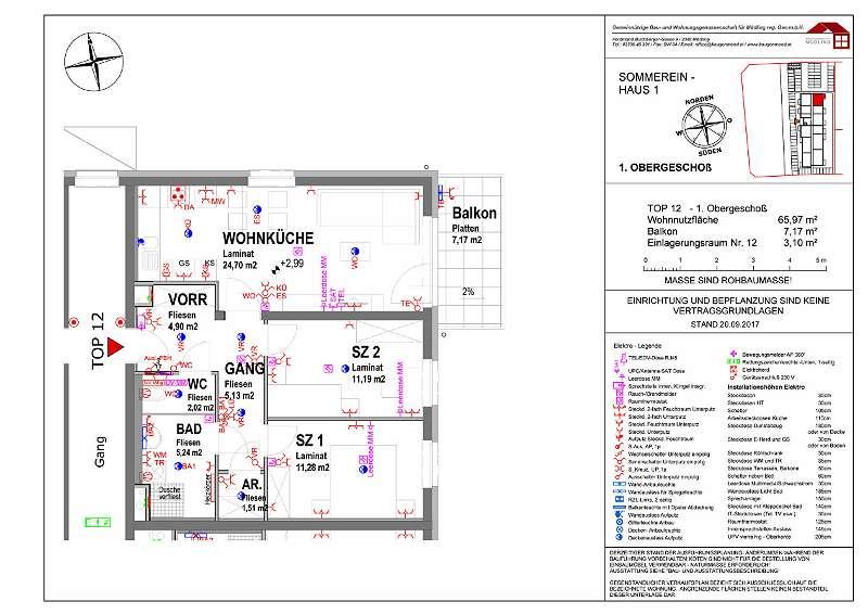 Sommerein TOP12 - 3 Zimmer Wohnung im 1. OG mit Balkon