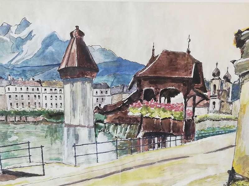 Aquarell - Kapellbrücke in Luzern