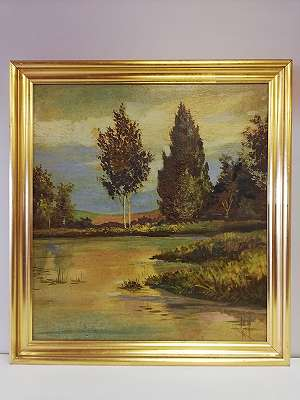 Flache Gewässerlandschaft mit Bäumen