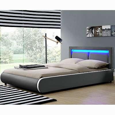Polsterbett 140 x 200 cm dunkelgrau Einzelbett Kunstlederbett Doppelbett mit LED Bettgestell Bett JU28984