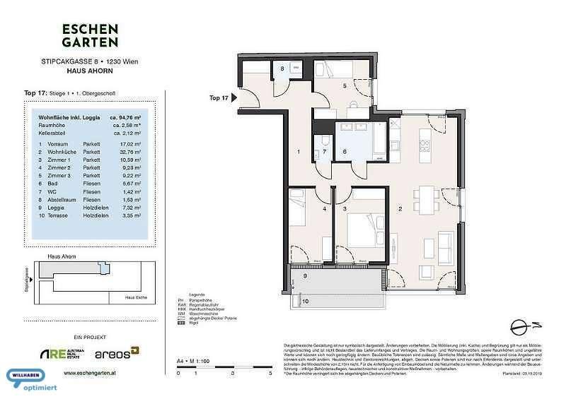 Eschengarten Verkaufsplan Haus Ahorn Stiege 1 Top 17