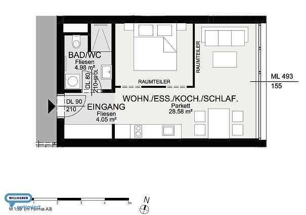 Provisionsfreie 1 Zimmer Vorsorgewohnung | 3. OG | TOP B 302