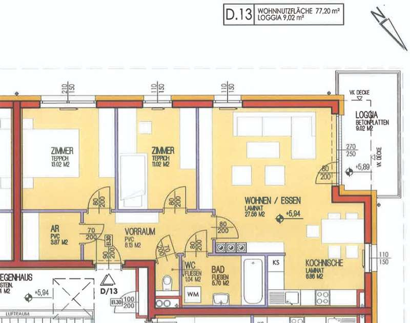 Geförderte 3-Zimmer-Wohnung mit Loggia in Pitten