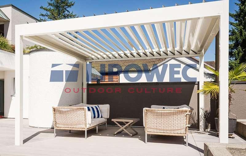 Alu-Lamellendach funkgesteuert | 250 x 300 cm | Weiß | integrierte LED und Seitenbeschattung | Ausstellungsstück