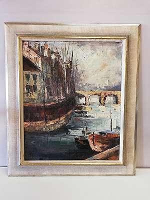 Harry Dedic , Stadt am Fluss mit Brücke