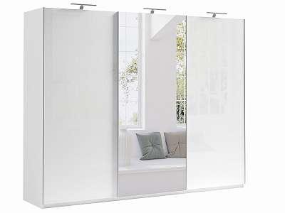 Kleiderschrank Schwebetürenschrank weiß - weiß Hochglanz Spiegel 270x210x64cm