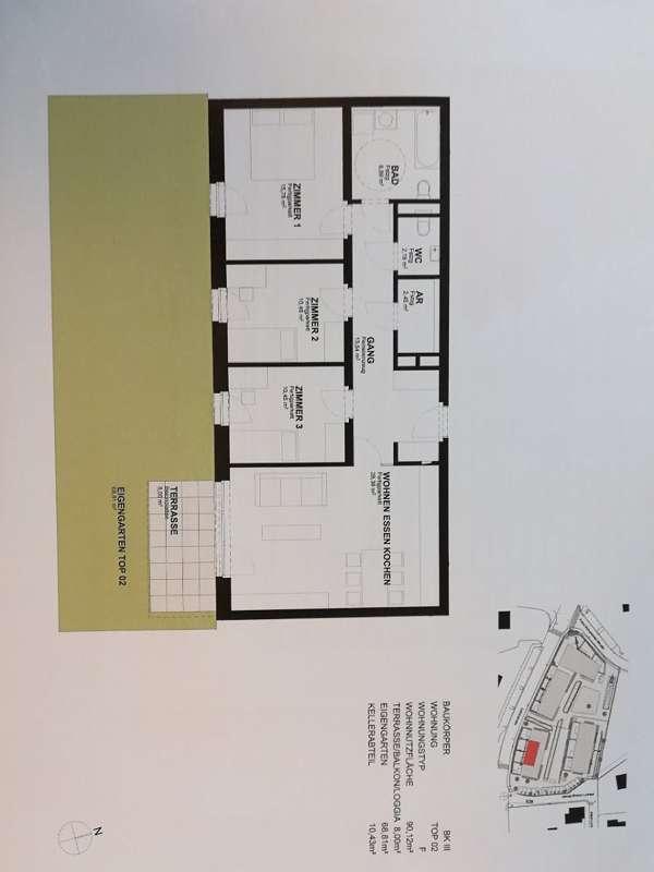 Barrierefreie Erdgeschosswohnung mit 69 m² Eigengarten und Tiefgaragenplatz