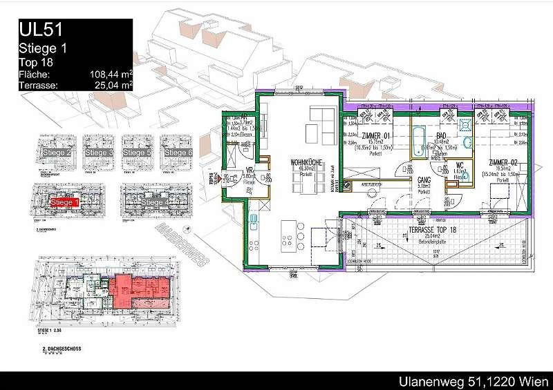 Neubauerstbezug - Wohnen bei der Lobau: Geräumige Dachgeschosswohnung mit großen Terrasse