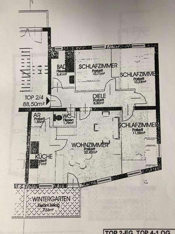 Sehr gepflegte 4 Zimmer-Wohnung mit Wintergarten