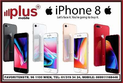 IPHONE 8 64GB SILBER & WEISS & SPACE GREY, WIE NEU, TOPZUSTAND, WERKSOFFEN, GARANTIE, PLUS MOBILE !