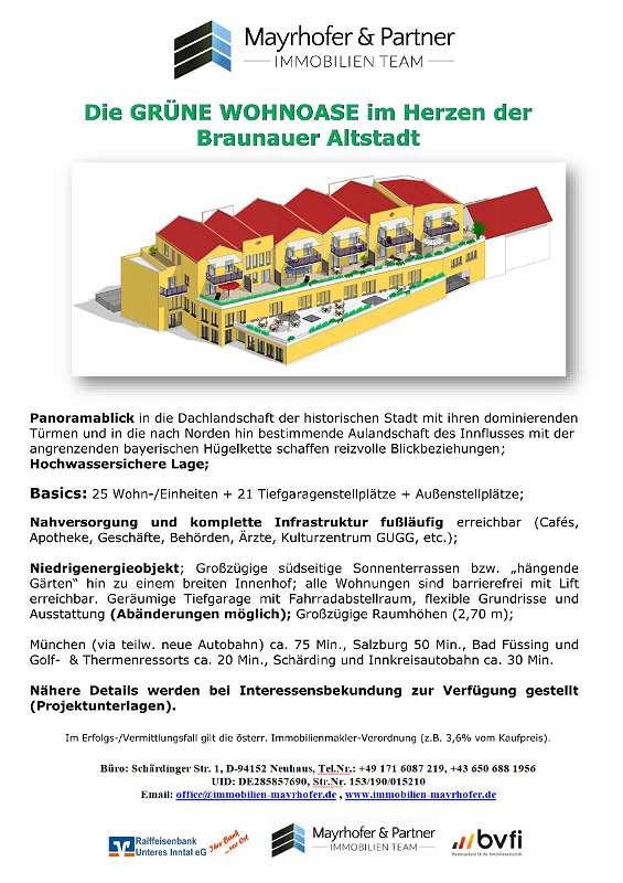 Exposé Die GRÜNE WOHNOASE im Herzen der Braunauer Altstadt