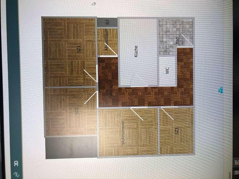 Die Wohnungsskizze ist nur grob, Schlafzimmer sind fast gleich groß