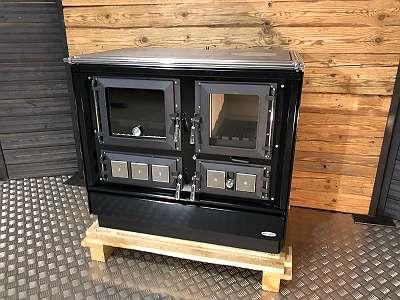 Tischherd KVS Typ 9112 schwarz + Chrombeschläge + Edelstahlrahmen + Ausstellungsstück