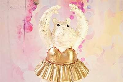 BESONDERS! Große, tanzende Nilpferd-Ballerina aus Kunstharz – Höhe ca. 46 cm! Ballett Tutu Hippo Tanz Oper Theater Aufführung Eleve Geschenk schenken