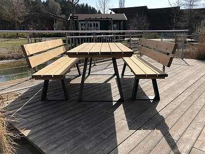 BESTSELLER! Gartengarnitur LÄRCHE massiv - Tisch + 2 Bänke mit Lehne