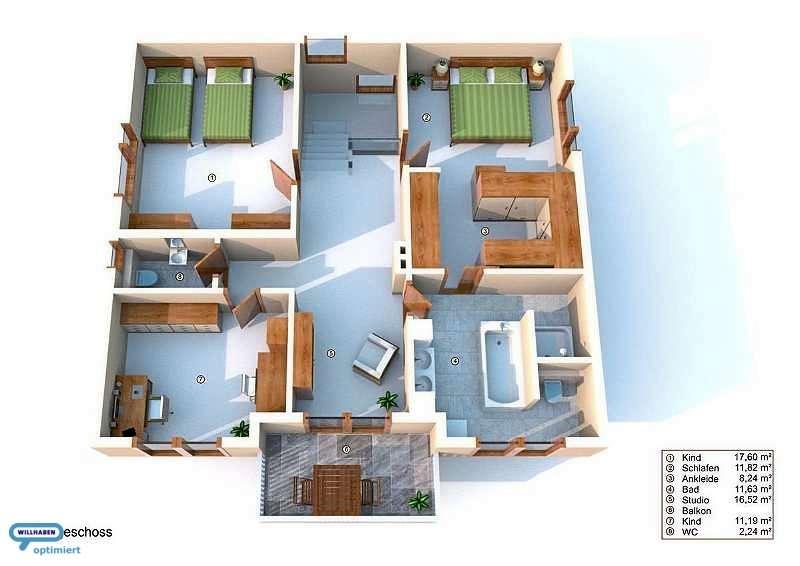 Obergeschoss Designvilla Pool Position