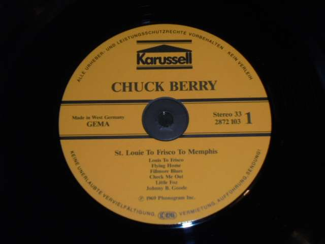 LP - CHUCK BERRY WITH THE STEVE MILLER BAND - ST. LOUIE TO FRISCO TO MEMPHIS