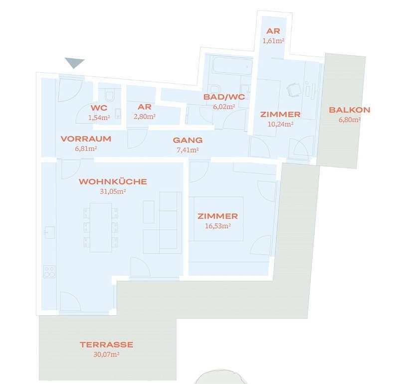 HOMMAGE AU COTTAGE - 20 Neubauwohnungen in Gersthofer Ruhelage (Top 18)