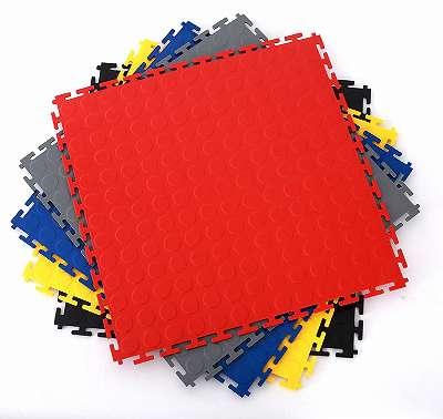 PVC Klickfliesen 500 x 500 x 7 mm. Industrieller Werkstattboden mit runden Noppen