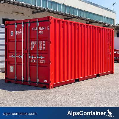 20ft (6m) Seecontainer / Lagercontainer, verkehrsrot RAL3020