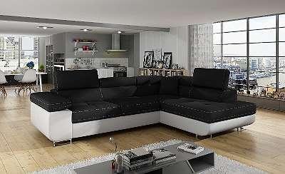 *Möbel 20*Couchgarnitur ANTON mit Schlaffunktion, Bettkasten und beweglichen Kopfstützen