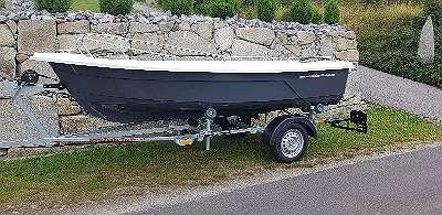 NEU & LAGERND 400 GFK DELUXE Fuchs BOOT Angelboot Fischerboot Familienboot Badeboot Ruderboot Motorboot 20 PS / Lod Lodi Clun Boot 6 Staufächer lang auf Wunsch mit Bootsanhänger Ankerwinde Anker Motor Persenning Zubehör