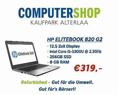 HP Elitebook 820 G2 - 12,5 Zoll -IntelCore i5-5300U @2.3 GHz - 8 GB RAM - 256 GB SSD - Win10Home