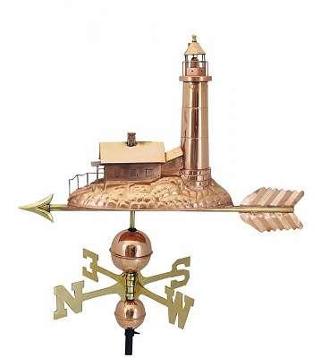 Wetterfahne Leuchtturm aus poliertem Kupfer und Messing 70 cm