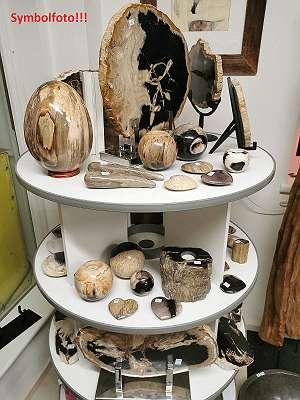 Versteinertes Holz, Deko, Baumstämme, Teelichter, Naturprodukt, Platten, Wandplatten, Herzen, Ei