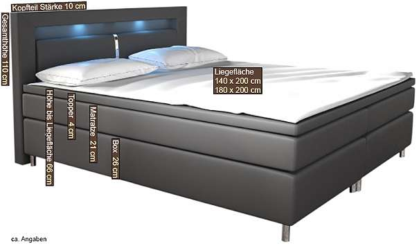 boxspringbett charlotta led designerbett hotelbett doppelbett ehebett topper 619 4882. Black Bedroom Furniture Sets. Home Design Ideas