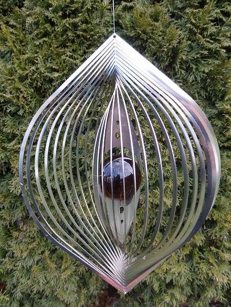 metall wirbel / edelstahl windspiel blatt mit glaskugel *neu, Garten ideen