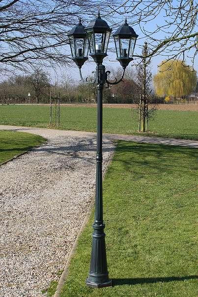 Garten Laterne 230cm ! 3 Flammig ! Schwarz / Grün