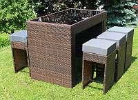°AUSSTELLUNSSTÜCK° Polyrattan Aluminium Barset CAPRI Tisch + 6 Barhocker  Rattan Bar Theke Poolbar Braun