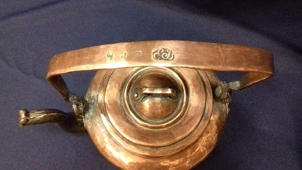 Antike russische Kupfer Kanne, signiert, EB CCH!